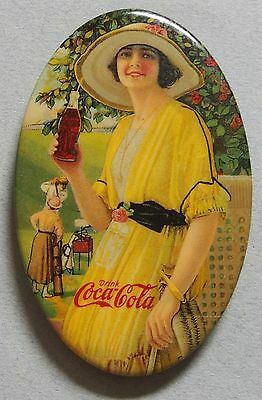 Very Rare 1920 Coca Cola Celluloid Advertising Pocket Mirror Beautiful Girl Mint