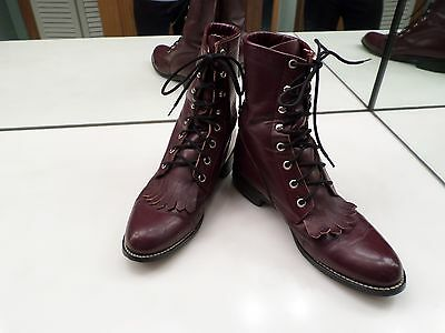 Justin Kiltie Cordovan Leather Western Boot - Size 7 B - Nice Used Condition
