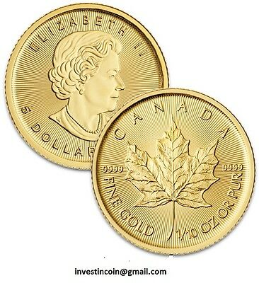 1/10 oz 2017 Canadian Maple Leaf Gold Coin 999 fine gold
