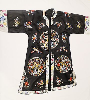 Vintage Jacket antique chinese embroidered silk robe back birds turn of century