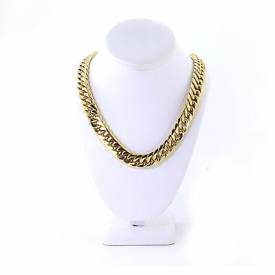 Miami Cuban Chain Solid Heavy Large 14K Gold Plated Stainless Steel 16.5mm 24''