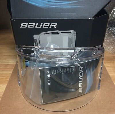 Bauer Certified Half Shield Hockey Visor! BNIB New Clear Hardware Spray 1043044