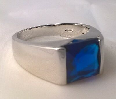 925 Sterling silver Men's simulated blue sapphire ring square size USA 12 AUS Y