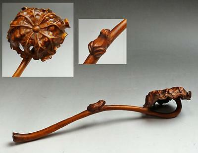 "Chinese Antique Old Wooden Ruyi Scepter "" Frog on a lotus "" / W 18.5 [ cm ]"