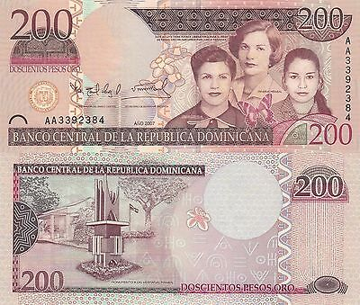 Dominican Republic 200 Pesos (2007) - The Mirabal Sisters/Monument/p178 UNC