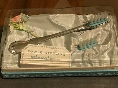 New TOWLE Antique Sterling Silver BABY Toddler TOOTHBRUSH TOOTH Fitted Box