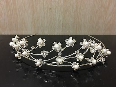 Wedding bridal tiara headband in silver colour with pearl and rhinestones.