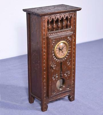 French Antique Miniature Breton/Brittany Grandfather Clock in Chestnut