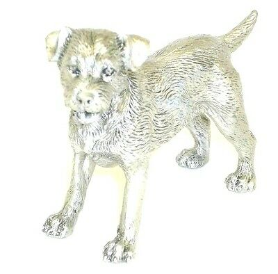 Faithful Friends Border Terrier Standing Solid Pewter Dog Figurine Free Shipping
