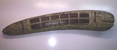Collectible Cribbage Board Faux Walrus Tusk Whaling Scene