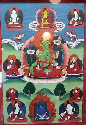Tibetan Thangka Green Tara framed w/glass in good condition