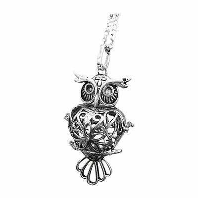 Owl Locket Pendant Necklace Fragrance Aromatherapy Essential Oil Diffuser S7D3