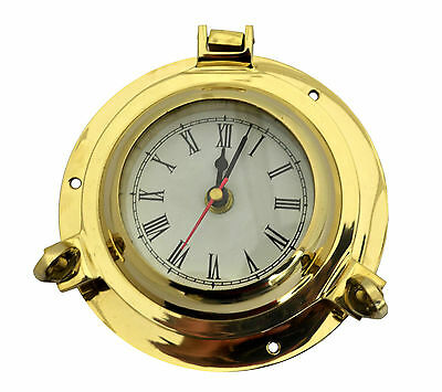 Ships Porthole Wall Clock Maritime Ship`S Chrome Finish House Décor Solid Brass