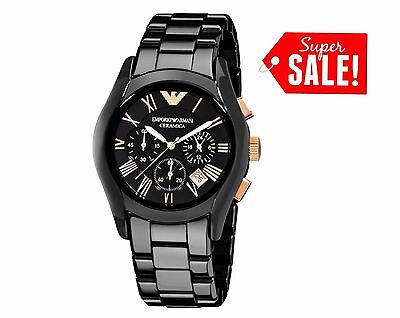 *new* Emporio Armani Ar1410 Ceramica Black Rose Men's Watch - Uk Stock