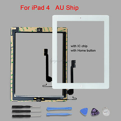 Touch Screen Glass Front Panel Replacement Digitizer+IC Chip+Home  For iPad 4