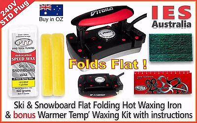 Ski-Snowboard Vitora Flat Folding Hot Waxing Iron & Warmer Temp Wax Kit + Guide