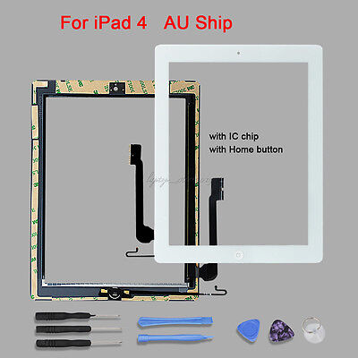 For iPad 4 White Touch Screen Glass Digitizer Replacement+IC Chip & Home Button