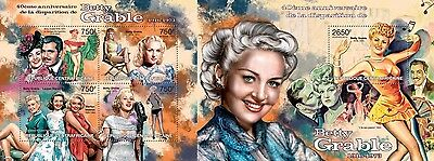 CA13215ab Central Africa 2013 Betty Grable MNH SET