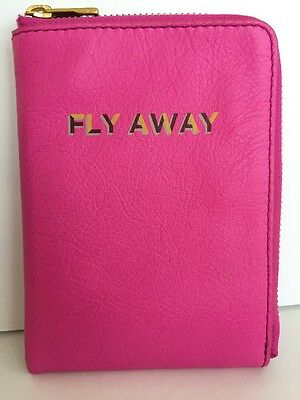 FOSSIL SOFIA Leather Passport Case/Wallet In HOT PINK,NWT