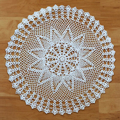 Handmade Crochet Tablecloth Cotton Doily Table Mat Decoration Cover Round 60cm