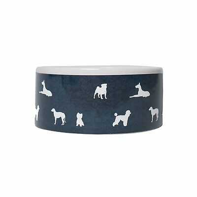 Mog & Bone Ceramic Bowl - Designer Dog Print - Navy