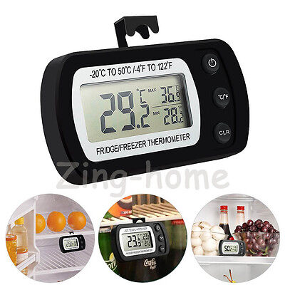 Waterproof LCD Digital Freezer Fridge Refrigerator Thermometer  Hanging Hook BK