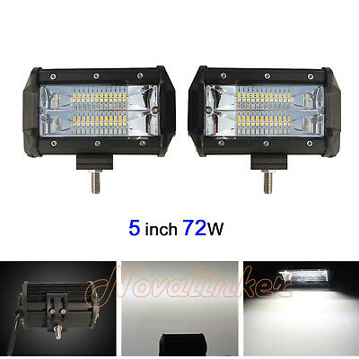 Pair 5INCH 72W CREE LED WORK LIGHT BAR Flood Spot OFFROAD 4WD SUV ATV CAR LAMP