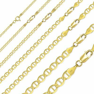 "10K Solid Yellow Gold Mariner Necklace Chain 2-8mm 16-30"" -Anchor Link Men Women"