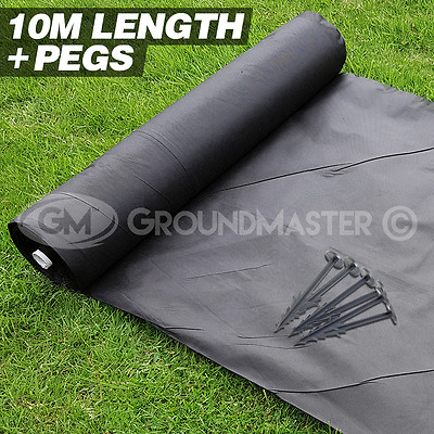 10M Long Groundmaster Weed Control Fabric Landscape Cover Membrane + Pegs