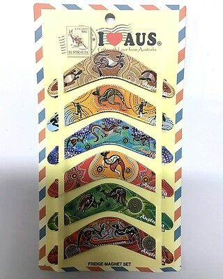 24pc Australian Souvenir Fridge Magnets Boomerangs Assorted Design Aboriginal