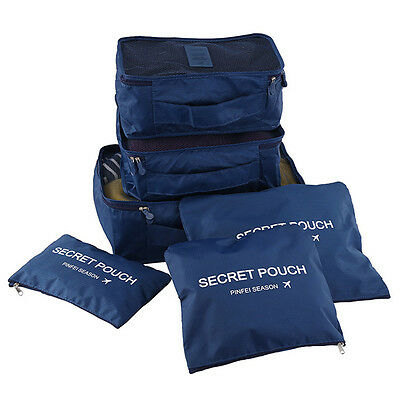 Travel Organizers Packing Cubes 6 pc Set Luggage Suitcase Bag Accessories Pouch.