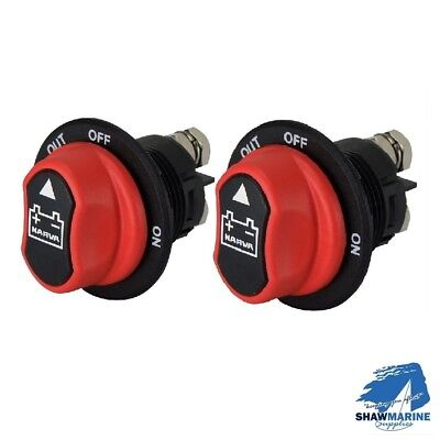 2 x NARVA MINI BATTERY ISOLATOR MASTER SWITCH ON OFF REMOVABLE KNOB MARINE AUTO