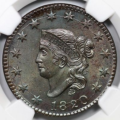 1820 N-13 NGC MS 62 BN Matron or Coronet Head Large Cent Coin 1c