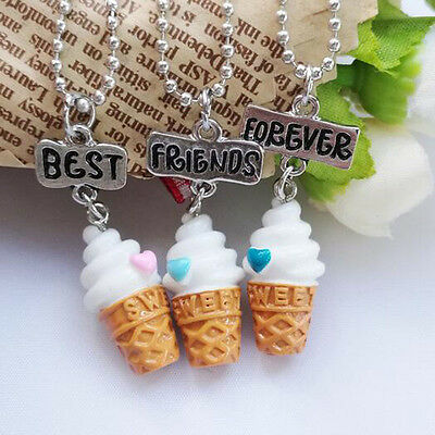 3Pcs/set Children's Lovely Ice-cream Best Friend Forever BFF Chain Necklace 2017