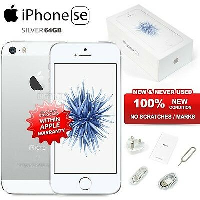 """New Factory Unlocked APPLE iPhone SE Silver 64GB 4"""" IPS 4G LTE iOS Mobile Phone"""