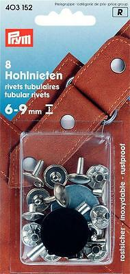 Prym 8 Hollow rivets 6 - 9 mm silver coloured Buttons Leather Pouch 403152