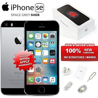 """New Factory Unlocked APPLE iPhone SE Space Grey 64GB 4"""" IPS 4G iOS Mobile Phone"""