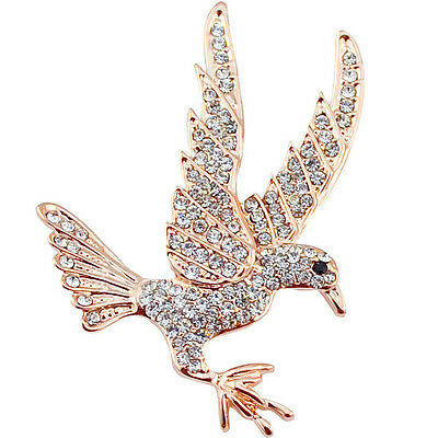 Beautiful Rose Gold Plated Clear Crystal Bird Statement Brooch