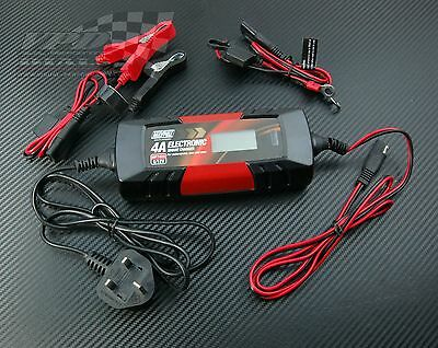 6v/12v Battery Charger 4A with leads. Electronic smart car fast trickle charger