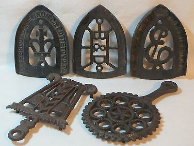 Antique / Vintage Cast Iron Trivet Lot Enterprise Colebrookdale Crown B&D