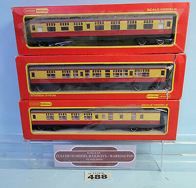 Hornby 'oo' Gauge Rake Of 3 Br Composite/brake Crimson/cream Coaches Boxed #488