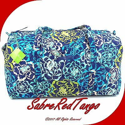 Nwt Vera Bradley Quilted Large Duffel Gym Travelling Bag Floral Katalina Blues