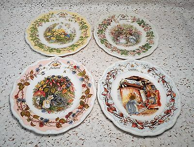 4 Vintage (1982) Royal Doulton FOUR SEASONS PLATES Brambly Hedge Collection