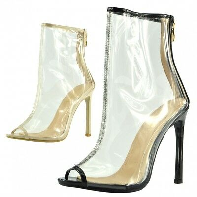 Women's Ankle Boots Clear Perspex Stilletto High Heel Party Fashion Shoes