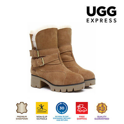 UGG Boots Melody - Ladies Fashion Strap Buckle,  Australian wool lining