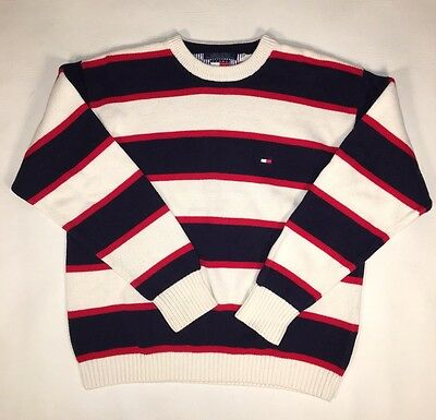 7e5ac9e1 Vintage Tommy Hilfiger Flag Striped Pullover Sweater Color Block Red SZ XL  Logo