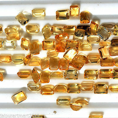 4 Pieces Set 10x8 MM Rectangle Natural Citrine Cabochon Faceted Citrine Gemstone