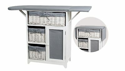 Iron Board 3-Tier Storage Cabinet with Wicker Basket Drawers Folding Grey/White
