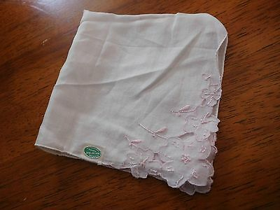 """Handmade White with Pink Floral Embroidered Linen 12"""" Square Handkerchief"""