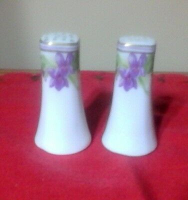 Vintage Pair Hand Painted Purple Violets Salt And Pepper Shakers